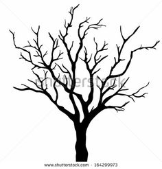 236x246 Deciduous Bare Tree With Empty Branches Black Silhouette Isolated