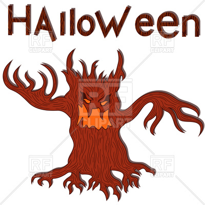 400x400 Halloween Angry Tree With Branches As A Hands Royalty Free Vector