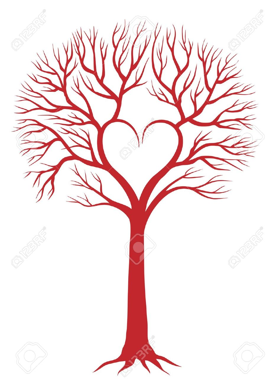 910x1300 Red Love Tree With Heart Shaped Branches Royalty Free Cliparts