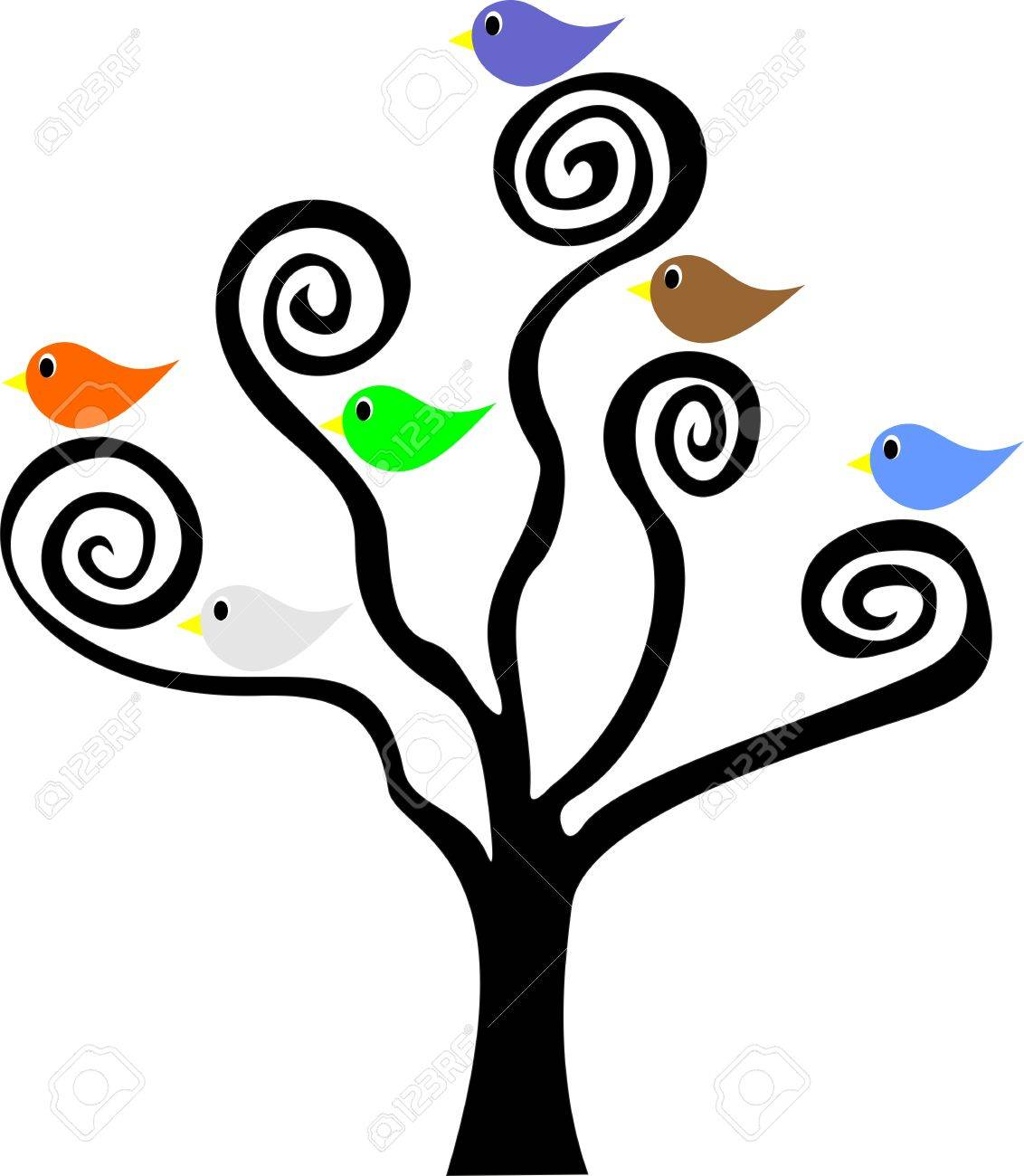 1132x1300 Six Birds Sitting In A Tree With Spiral Branches Royalty Free