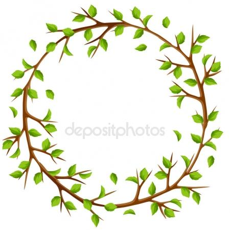 450x450 Summer Frame With Branches Of Tree And Green Leaves. Seasonal