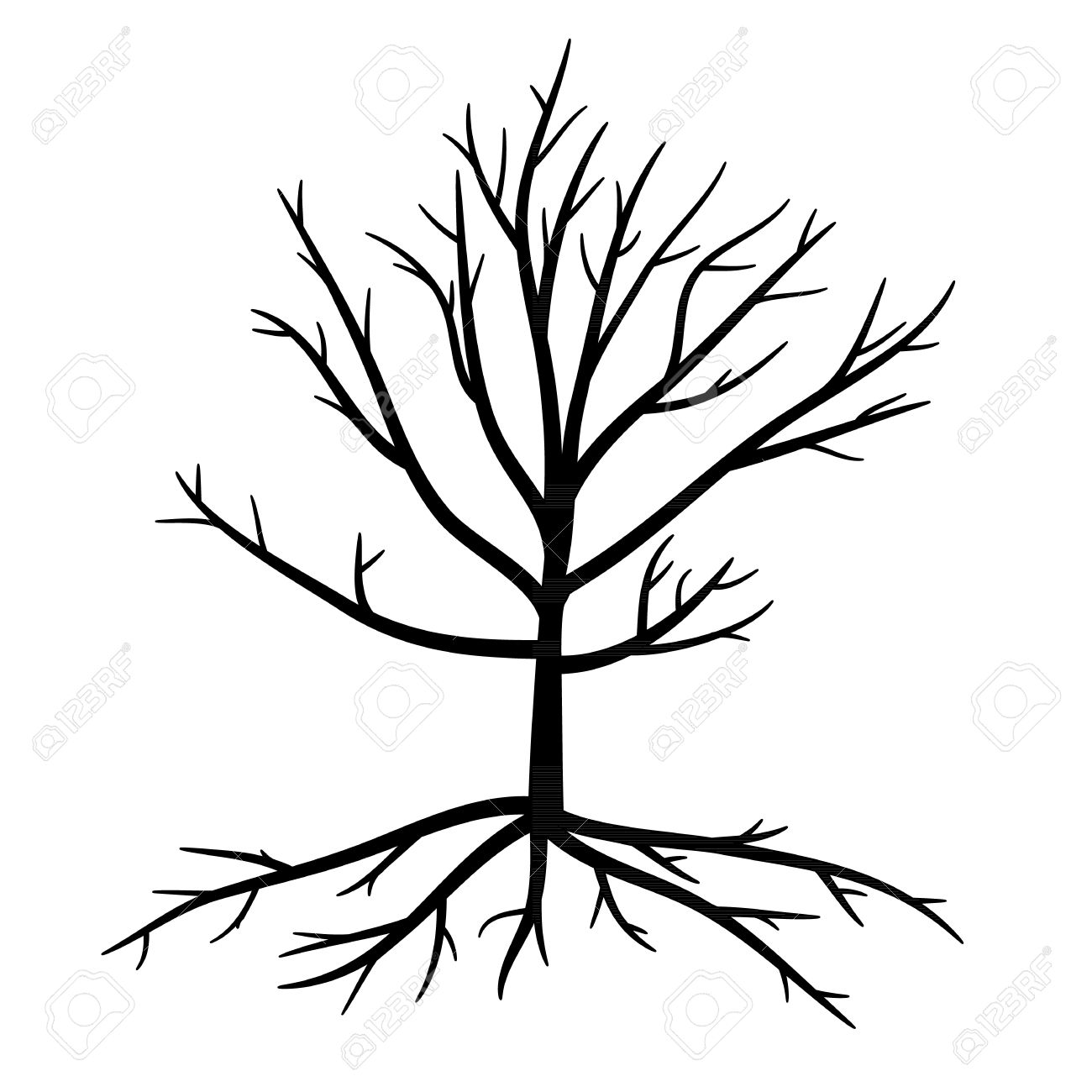 1300x1300 Trees With Dead Branches And Roots Royalty Free Cliparts, Vectors
