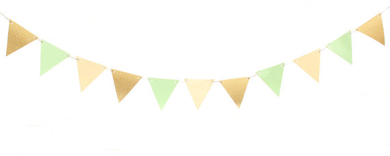 570x228 Mint Green Gold Ivory Triangle Flag Banner Mint Green Gold
