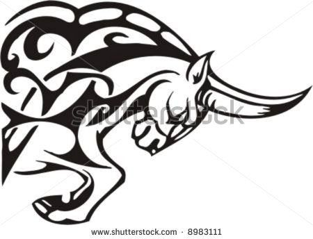 450x344 Snorting Bull Head Tribal Image Bull Face Clip Art Tribal Bull