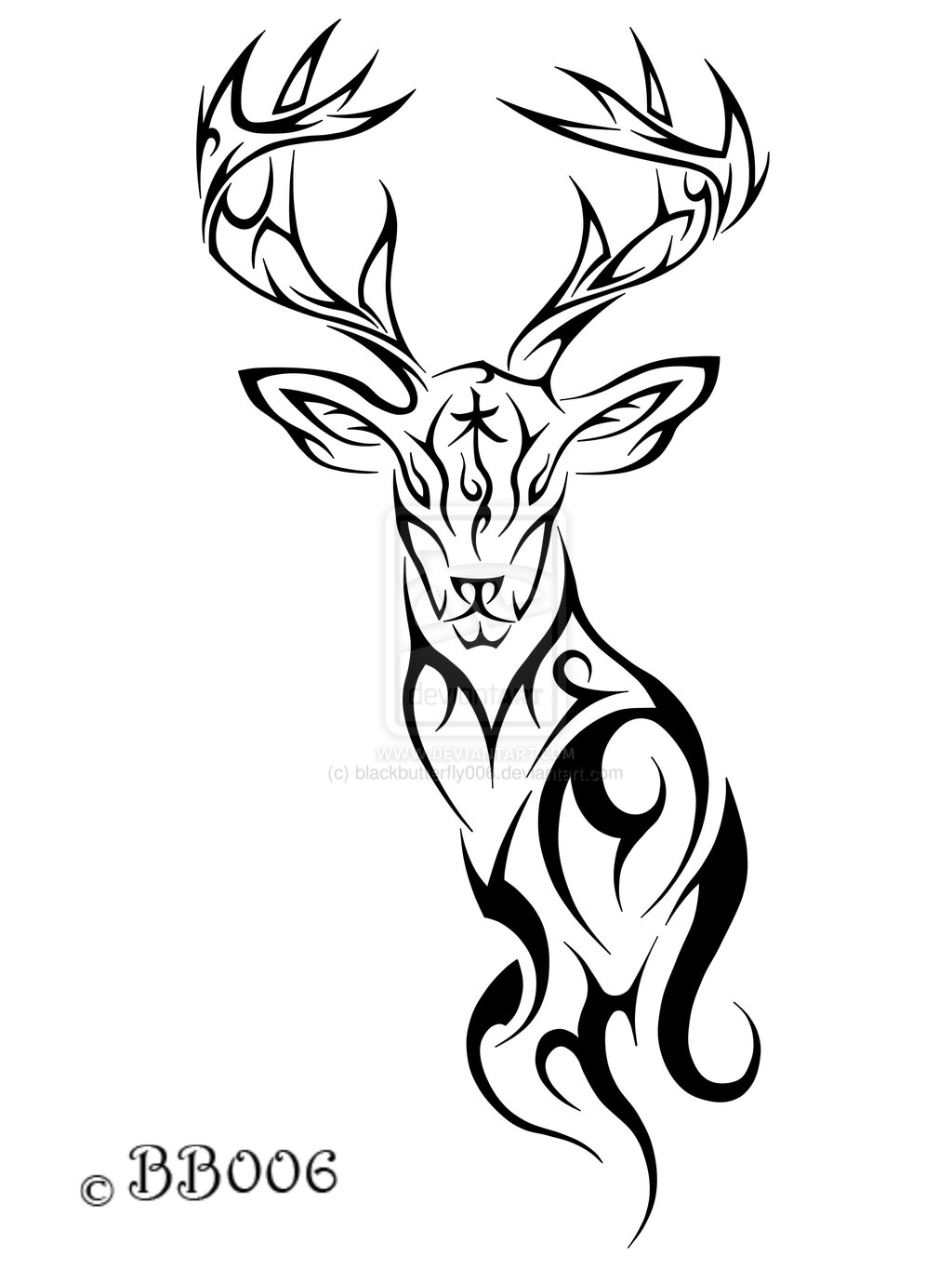 1024x1365 Tribal Deer Tattoo By ~blackbutterfly006 On Terry