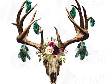 340x270 Watercolor Floral Bull Skull Clipart Indian Tribal Bull