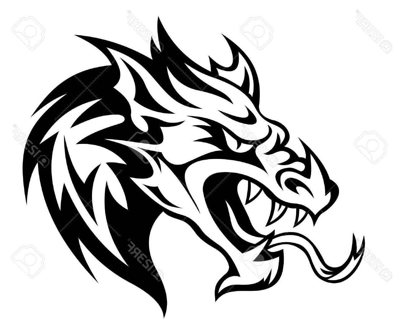 1300x1074 Best Free Danger Dragon Head For Tattoo Vector Illustration Stock