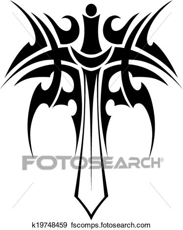 374x470 Clip Art Of Tribal Tattoo With Sword K19748459