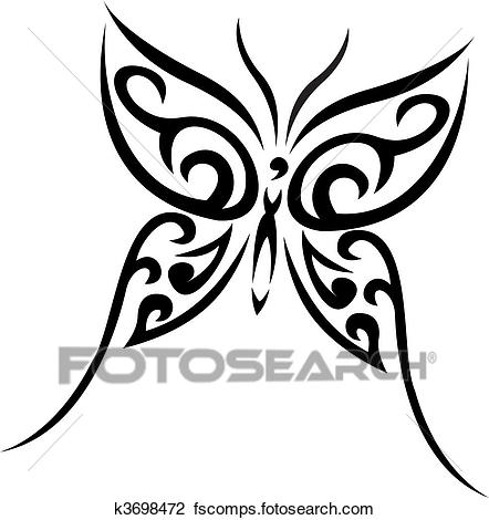 442x470 Clipart Of Buterfly Tribal Vector Tattoo K3698472