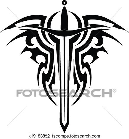 436x470 Clipart Of Tribal Tattoo With Medieval Sword K19183852