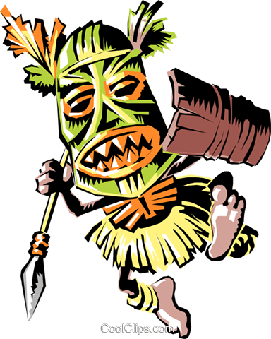 384x480 Cartoon Tribal Warrior Royalty Free Vector Clip Art Illustration
