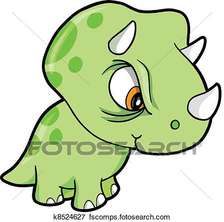 450x446 Clip Art Of Mean Green Triceratops Dinosaur K8524627