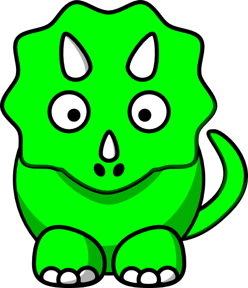 510x593 Green Baby Triceratops Clip Art