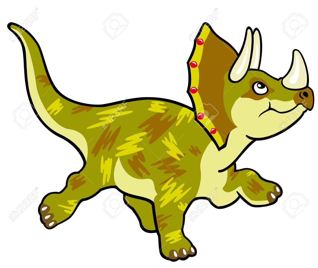 1300x1097 Cartoon Dinosaur Triceratops,vector Picture Isolated On White