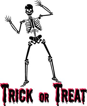 300x367 Halloween Skeleton Clip Art Trick Or Treat Wordart
