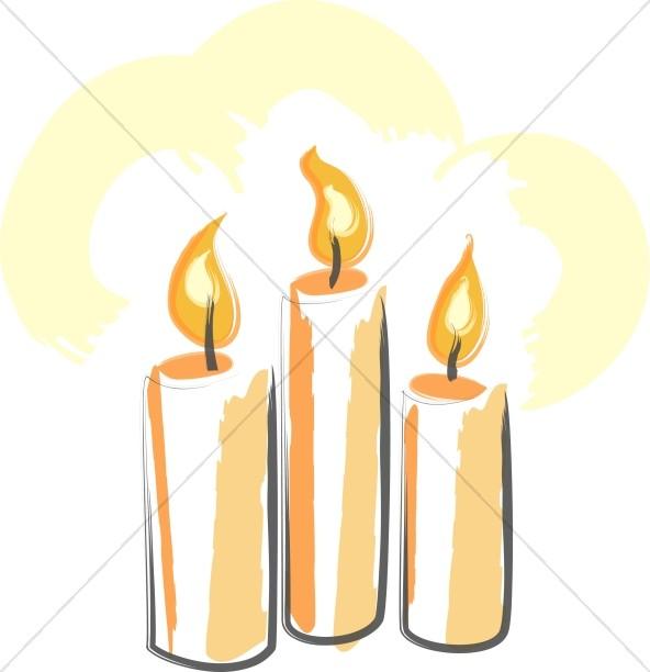 592x612 Trinity Of Orange Candles Trinity Clipart