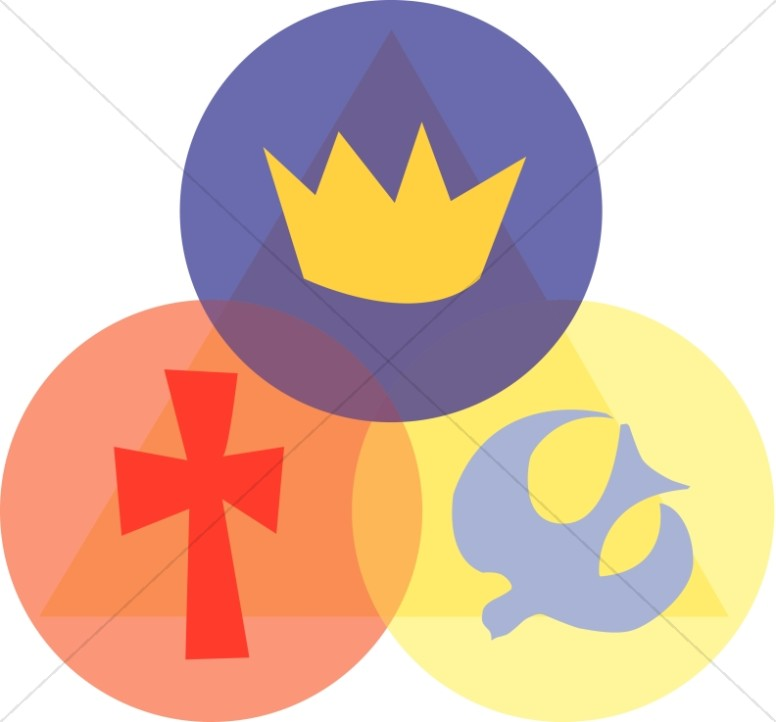 776x722 Trinity With Crown, Cross, And Dove (Pointing Up) Trinity Clipart