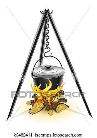 331x470 Clipart Of Black Kettle For Campfire On Tripod K3482411