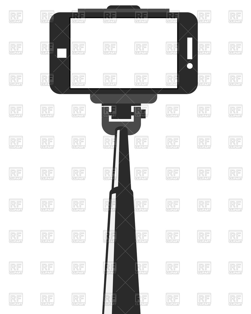 960x1200 Selfie Stick And Smartphone With Blank Screen Royalty Free Vector