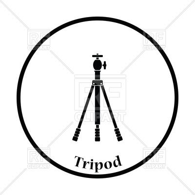 400x400 Thin Circle Design Icon Of Photo Tripod Royalty Free Vector Clip