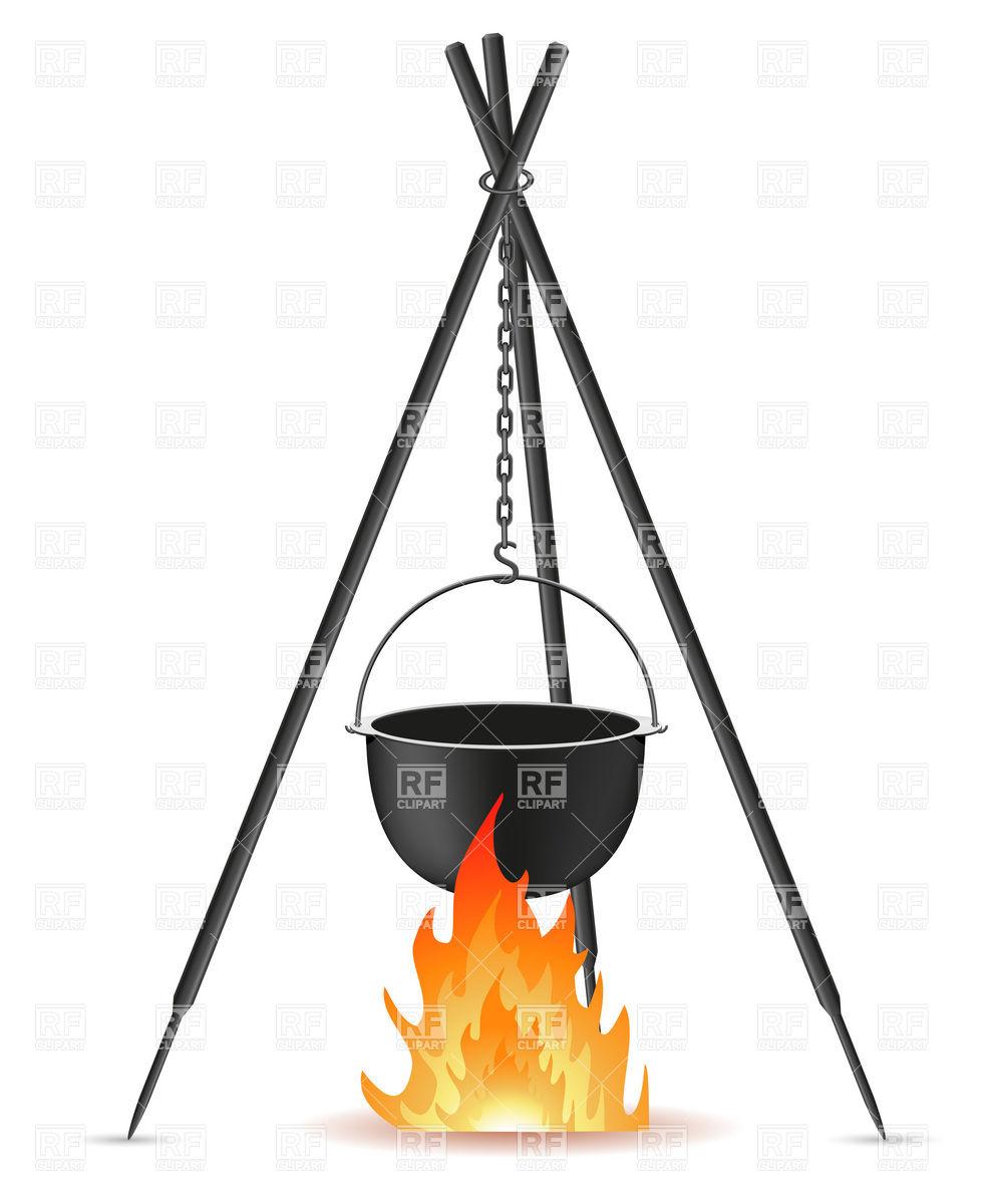 987x1200 Touristic Pot Over Bonfire On Tripod Royalty Free Vector Clip Art