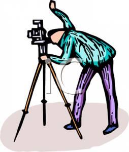 254x300 Art Image A Man Looking Through A Camera On A Tripod