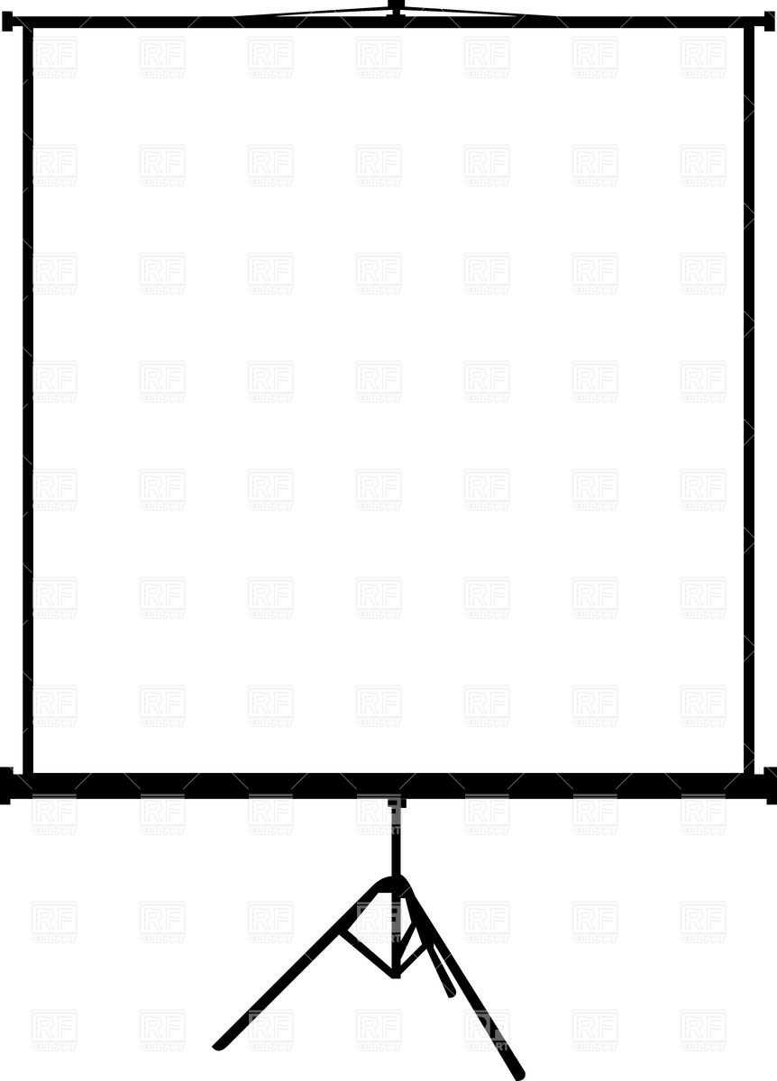 862x1200 Blank Portable Projection Screen On Tripod Royalty Free Vector