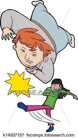 265x470 Clip Art Of Girl Tripping Boy K14507157
