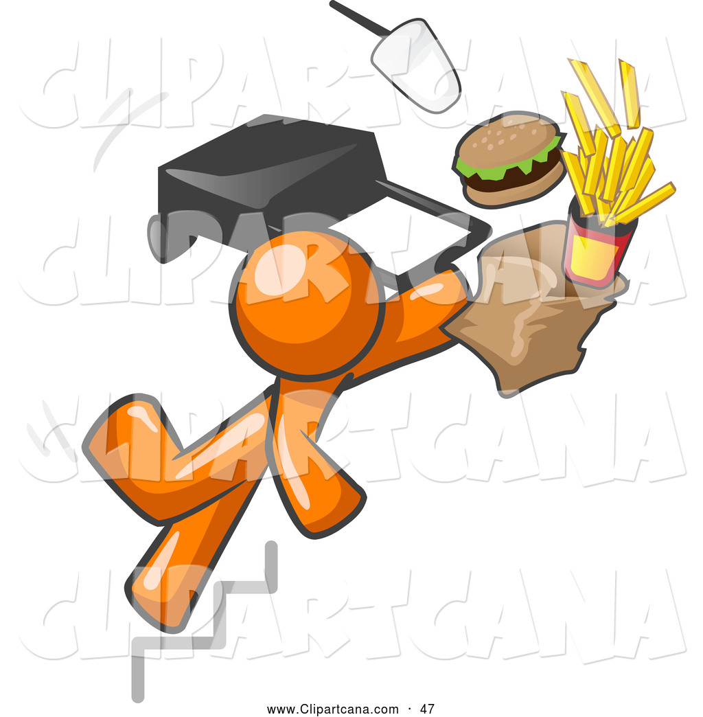 1024x1044 Clip Art Of A Clumsy Orange Man Tripping On Stairs, With Fast Food