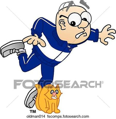 450x460 Drawings Of Old Man Tripping Over Cat Oldman014