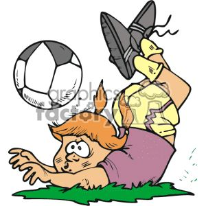 300x300 Girl Soccer Player Tripping Over The Ball. 169794 Vector Clip Art