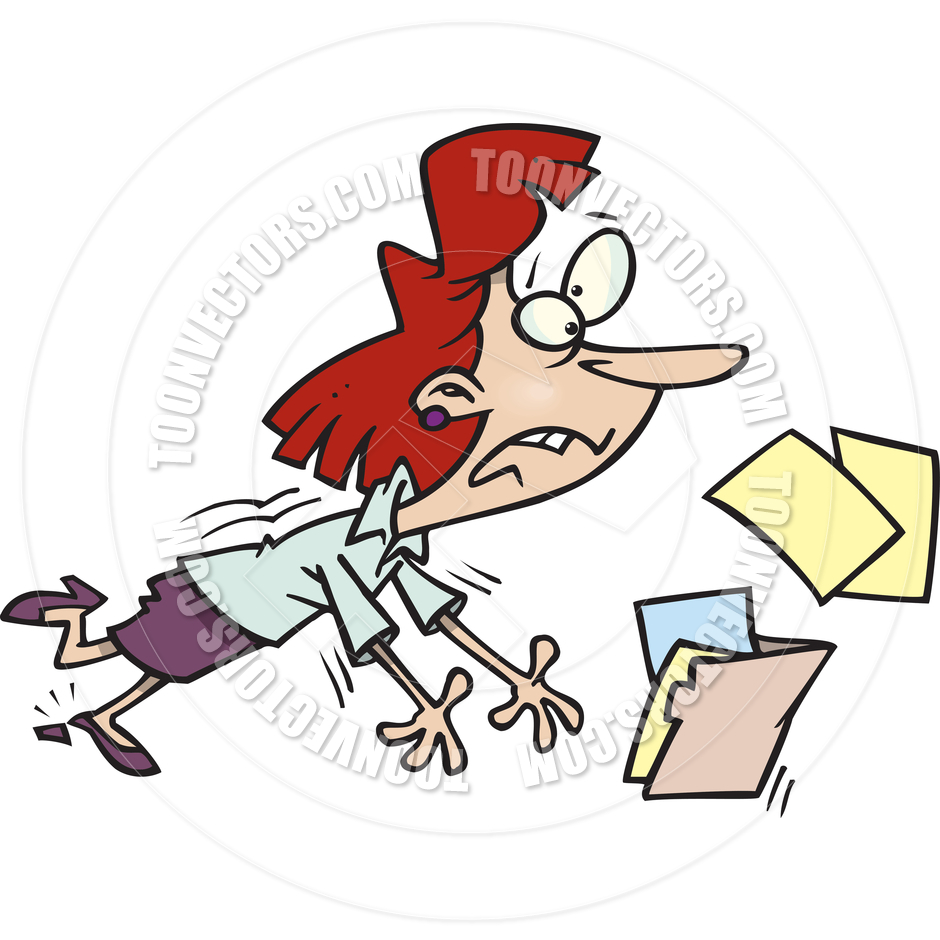 940x940 Cartoon Businesswoman Tripping By Ron Leishman Toon Vectors Eps