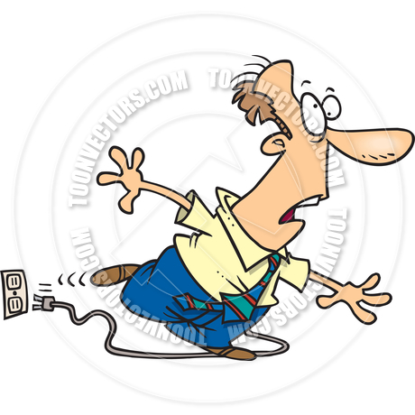 460x460 Cartoon Man Tripping On Power Cord By Ron Leishman Toon Vectors