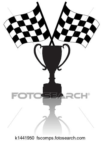 337x470 Clipart Of Crossed Checkered Flags And Victory K1441950