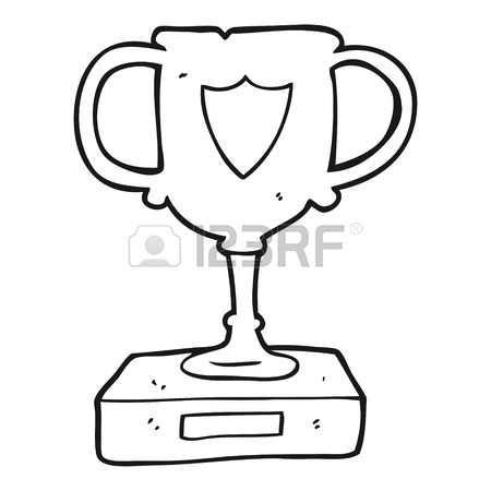 450x450 Freehand Drawn Black And White Cartoon Sports Trophy Royalty Free
