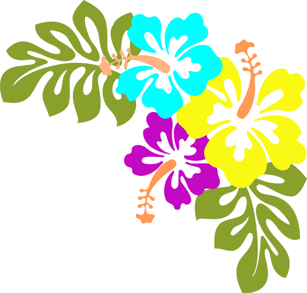 600x573 Tropical Flower Clip Art