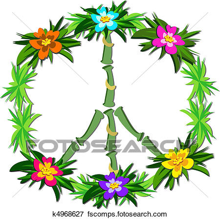 450x448 Clip Art Of Tropical Peace Sign K4968627