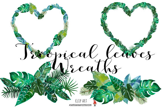 570x379 Tropical Clip Art Tropical Leaf Wreaths Clip Art