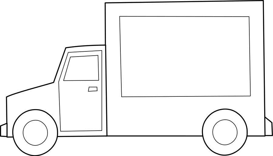 900x516 Free Truck Clipart Black And White Image