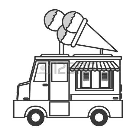 450x450 Ice Cream Truck Clipart Black And White