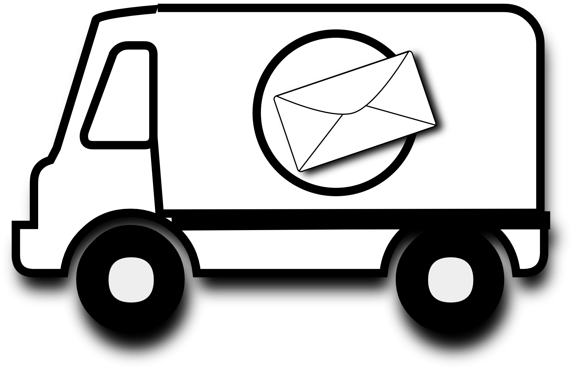 1979x1280 Mail Truck Clipart Black And White Letters