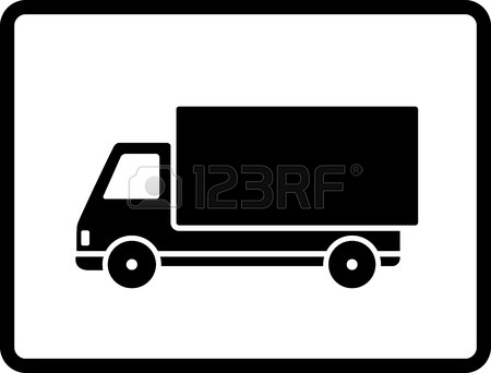 450x342 A Black And White Illustration Of A Stylised Semi Truck Royalty