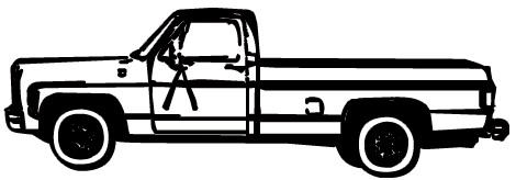 470x164 Pickup Truck Clipart Black And White Free Image