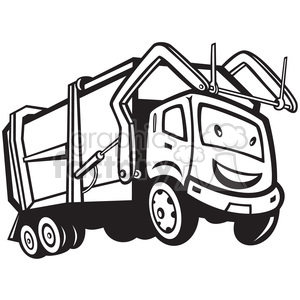 300x300 Royalty Free Black And White Rubbish Truck Cartoon Front 388262