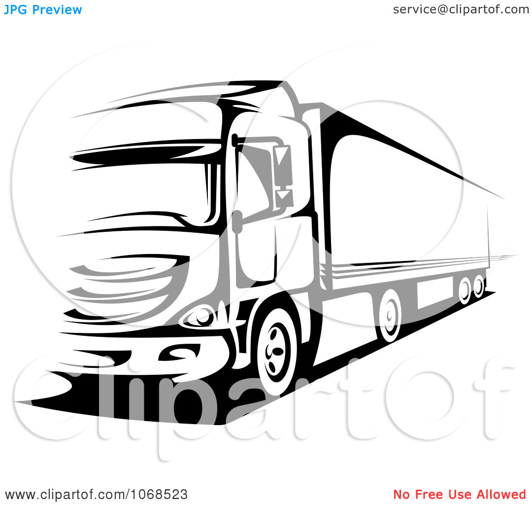 1080x1024 Semi Truck Black And White Clipart