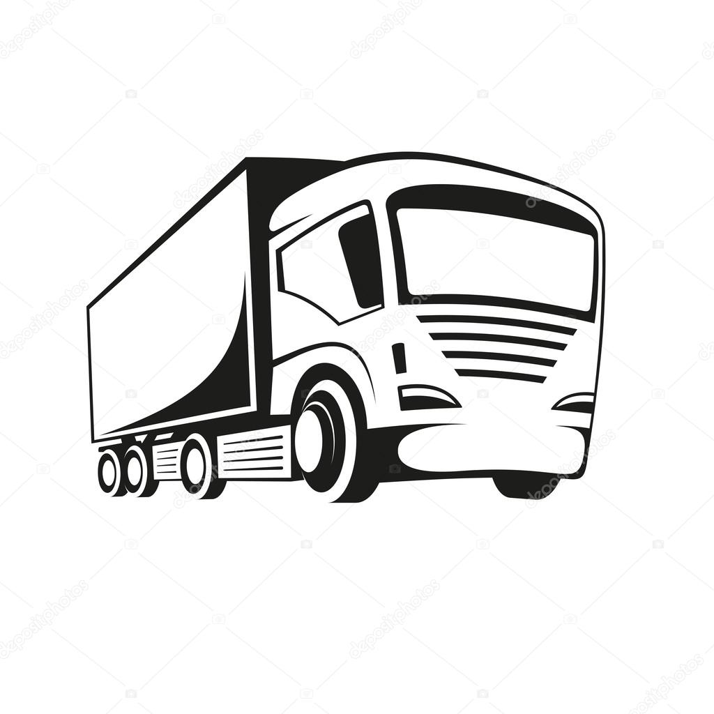 1024x1024 Truck Black And White Stock Vector Koctia