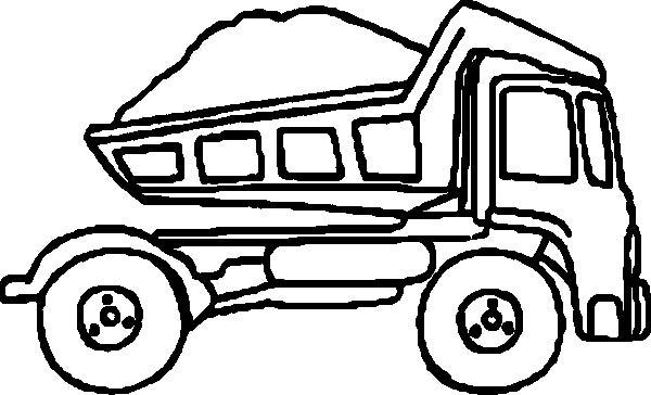 600x364 Black amp White clipart dump truck