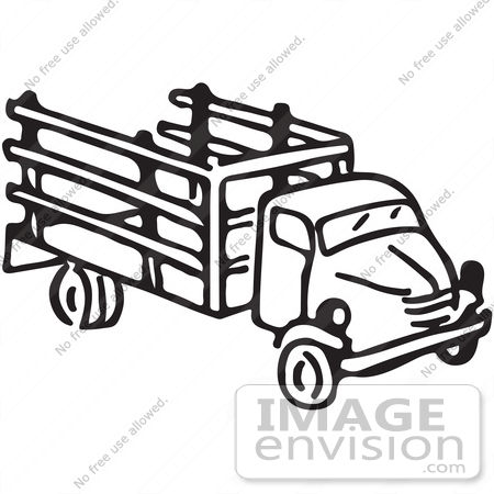 450x450 Clipart Of A Truck In Black And White