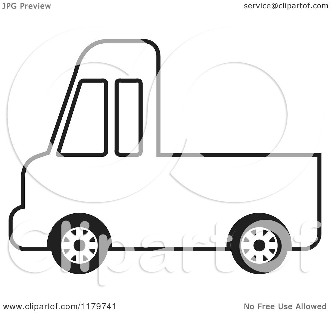 1080x1024 Clipart Of A Black And White Delivery Truck