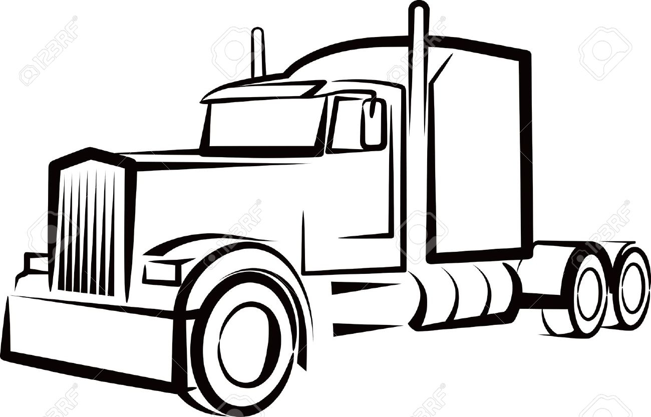 1300x833 Semi Truck Outline Drawing Simple Illustration With A Truck